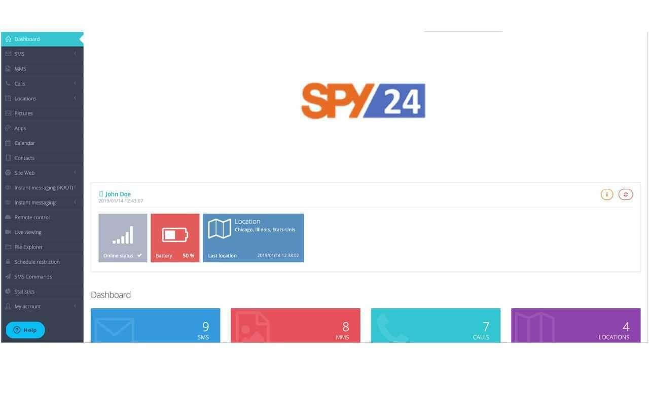 Fonctionnalités espion SPY24 Tracker