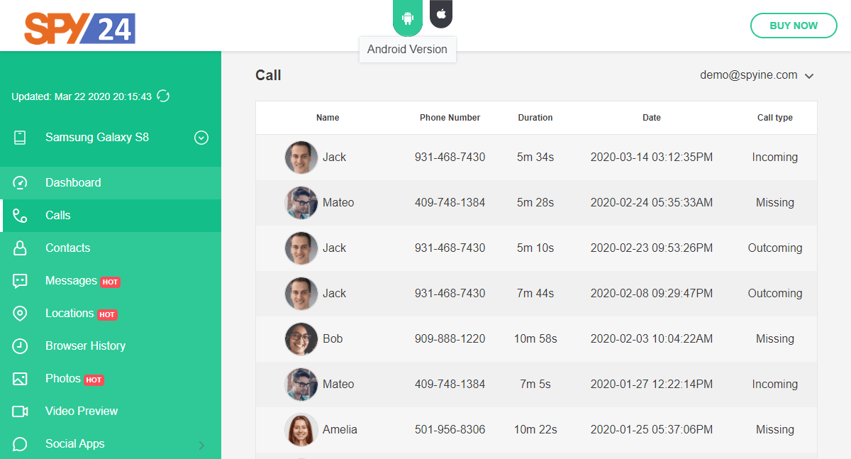 Call Tracker online : Track Calls Recording Logs for Android & iOS